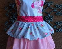 Shabby Chic Womans Ruffled Apron/ Child Matching Apron/Full size apron