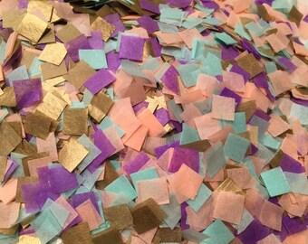 Biodegradable Confetti / Wedding Confetti / Peach Mint Purple Gold Confetti