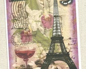 Eiffle Tower, in beloved Paris France, wonderful antique post card images,from River Spring,wine butterfly, stamp, flowers, note card blank