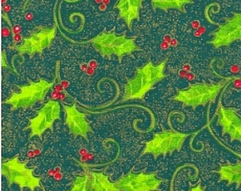 "XMAS FABRIC Green HOLLY & Red Berries - 45"" wide 100% Cotton - Fat Quarters, Half Metres, Metres"