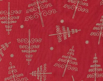 "Quality RED Fabric with GOLD CHRISTMAS Tree motif - 100% Cotton - 54"" Wide - dressmaking and decorations - sold by metre or fat quarters"