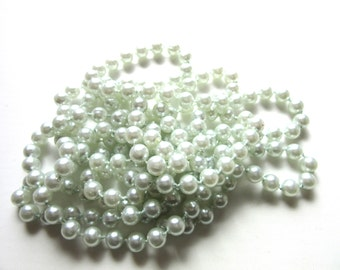 Extra Long Necklace Faux Pearl Flapper Style Light Blue Seafoam 70 Inches