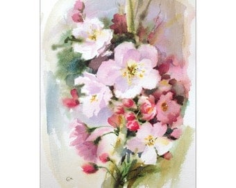 Apple Blossoms - Original Watercolor Painting 10x14 inches Spring Flowers Mother's Day