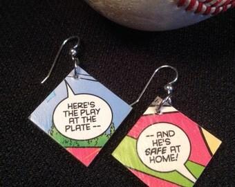 Comic Earrings - Baseball Softball