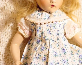 "Antique Doll Dress Fits Madame Alexander 13"" Wendy Ann Doll 1930s, White With Blue Floral"