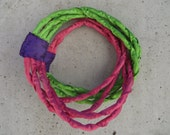agata / apple green, pink and purple fabric art necklace / soft and light jewellery