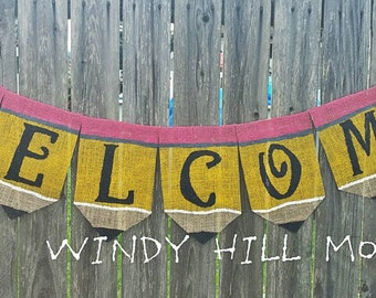 Back to School Pencil Welcome Burlap Banner