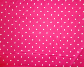 Hot Pink Polka Dot Flannel Fabric by the Yard