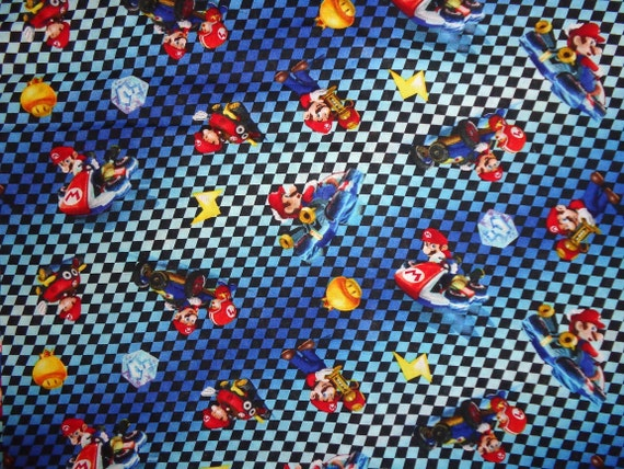 Race Track Fabric : Blue mario race track cotton fabric by the yard