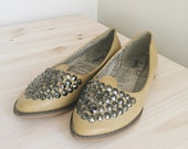 VINTAGE Yellow Mustard Flats with Metal Sequins - Size 8