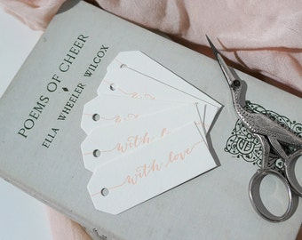 Set of 5 - Mini 'With Love' Letterpress Swing Tags
