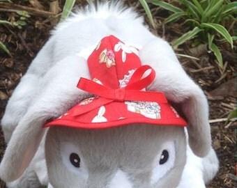 rabbit  hat . bunny print fabric , choose elastic strap or ribbon