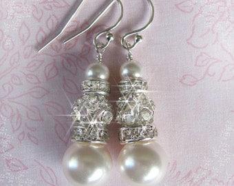 Rhinestone and Pearl Bridal Earrings, Rhinestone Ball, Pearl Earrings, Pearl and Rhinestone Earrings, Wedding Jewelry, Bride Jewelry