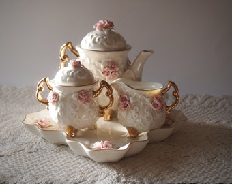 1990s Cream and Pink Ceramic Tea Set