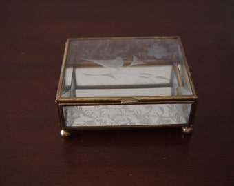 Vintage Brass and Glass Trinket Box