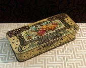 Art Nouveau, 1902, Biscuit Tin, Romantic Home,  Jacob, Clematis, Embossed, Antique Tin Box, Glove Box, Grecian Scene, Vintage Tin
