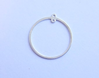 Sterling Silver 20mm Circle Frame Component -- 1 Piece