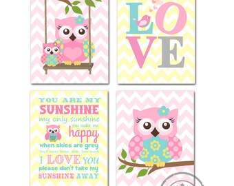 You are my sunshine, Love,Owl Nursery Decor ,Baby Girl Room Decor - Set of four Prints -Pink and Aqua