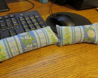 Blue Floral Wrist Rest, Keyboard and Mouse Wrist Support