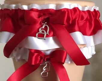 Wedding Garter Set, Bridal Garter Set, White and Red Garter Set, Keepsake Garter, Wedding Accessories