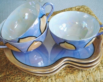 Japanese Lusterware Snack Set, Blue and Orange (Peach) With Opalescent Cup Linings, 6 pieces