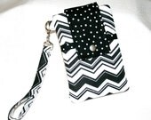 Chevron Black White Phone Bag or Cross Body Bag, iPhone 6, 6 Plus Bag, Samsung Galaxy S6, S Series Bag, Padded Cell, iPod Bag
