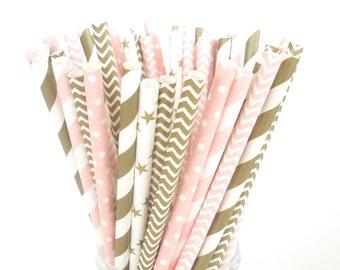 Paper Straws PINK & GOLD Party Mix…Plastic Mason Jar Paper Straws...Cake Pop Sticks Birthdays Party Favors Pink and Metallic Gold