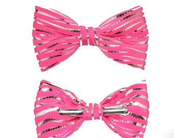 Shiny Hot Pink Silver Striped Shiny Clip On Bow Tie ~ Prom Graduation Dance