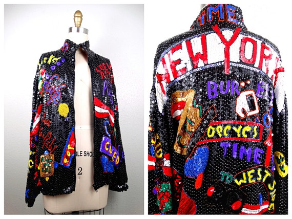 TIMES SQUARE Sequin Bomber Jacket // New York City Retro by braxae