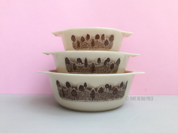 RESERVED for A -- Pyrex England 'Rustic' casserole dishes, set of three (c. 1981-84)