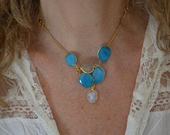 Necklace Elegant Turquoise,Moonstone and Quartz Bezelled Gemstones