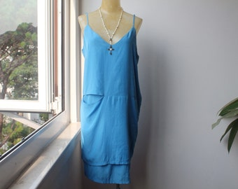 Sky Blue Dress, Shift Dress, Minimalist Dress, Vintage