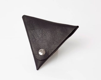 Black leather wallet - Leather Coin purse - Small change purse - Geometric mens wallet - Gift Ideas