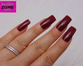 WIDE FIT Hand Painted Press On Nails, Burgundy, Long Length