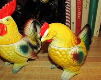 Hen and Rooster Salt and Pepper Cream and Sugar- Artmark- Japan- Vintage