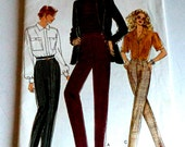 1980's Vintage Vogue 93697 Size 12 14 16 Very Easy Couture Sewing Pattern Women's Pants Misses Uncut