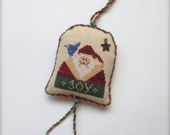 Completed primitive cross stitch Joy Christmas ornament / Christmas tree decoration