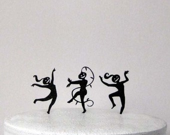 Halloween Wedding Cake Topper, Cupcake Toppers  - 3 Dancing Pumpkin Heads
