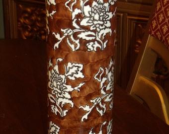 Vintage 90's  Vase Brown Off White floral - Flower Decor - Flower Vase -Fantasy Decor #TC 10001314