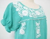 Mexican Embroidered Dress Cotton Tunic In Green Boho Dress