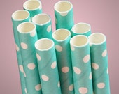 Light Aqua Blue & White Polka Dot Paper Straws Dotted Party Utensil Decoration Cocktail Drinking Wedding Reception Frozen FREE SHIPPING