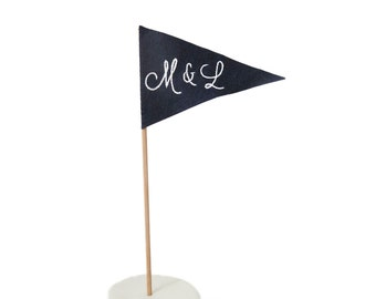 Personalized Initials Cake Topper - Navy and White lettering - Single Flag - Weddings, Anniversaries, Engagement Parties