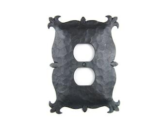 Rustic Mediterranean Hammered Iron Switch Plate Cover Duplex Plug EPH11