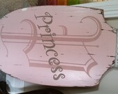 """Vintage Look Shabby """"P"""" For Princess - Painted Wood Sign With Metal Crown"""
