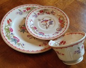 "Syracuse Ivory ""Bombay"" Teacup, Saucer and Salad Plate Trio for Shower, Tea Party, Luncheon"
