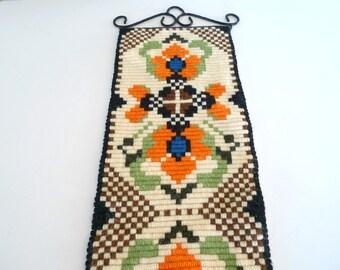 Vintage Swedish Wall Hanging - Scandinavian Embroidery Green Orange Wool Wrought Iron