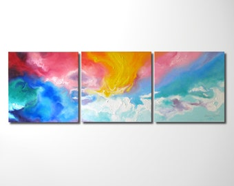 "Modern Art Abstract Painting, Original Oil Painting on Canvas, Large Wall Art Decor Painting, Triptychon, 50"" by 16"""