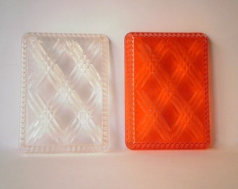 RESERVED  Vintage Trays,Small Acrylic Trays,Set of Two,One Red One Clear,Retangular Woven Pattern.