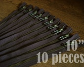purse zippers, ykk brown metal zippers, brown zippers, jean zippers, antique metal zipper, antique brass zipper - 10 inch - 10 pieces