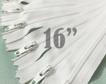 16 inch white zippers 16 inch zippers ykk zippers nylon zippers 16 inch zips sampler pack wholesale zippers - 25 pieces
